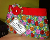 Rose Print Pleated Clutch with Detachable Flower Pin