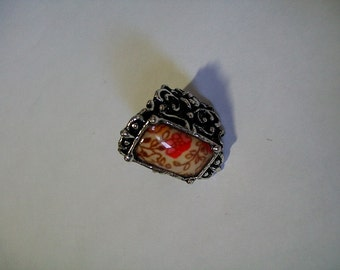 Chunky silver and orange flower ring Hippie ring Mod ring