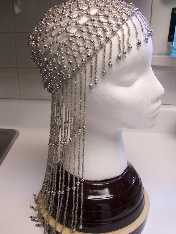 Vintage beaded skull cap silver flapper roaring twenties hat