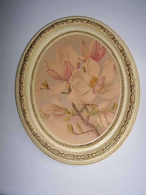 Shabby Floral Print Magnolia Blossoms Cottage Picture in Creamy Oval Frame