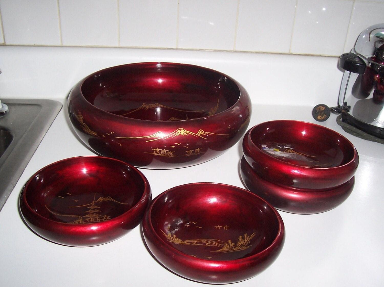 Japanese Rice Soup Bowl Set Lacquer Ware Salad Set Vintage