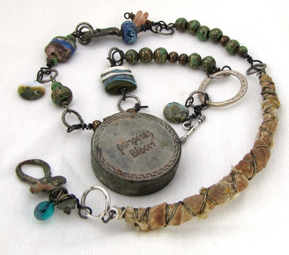 Pompeian Bloom - Relic  Found Vintage Object Assemblage Boho Necklace of Patina Olive Greens and Golds