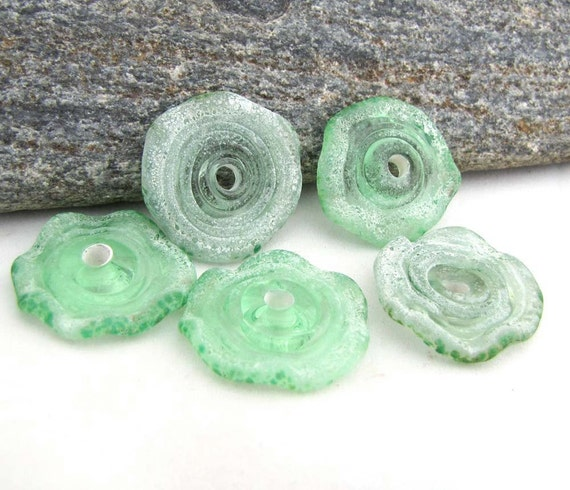 Criffles - Kryptonite and Grass Green Glow Rustic Crusty Riffle Lampwork Disc Beads set of Five