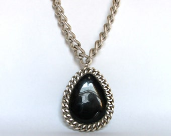 """Black onyx agate pendant - 24"""" Long Chunky Cable Chain Necklace"""