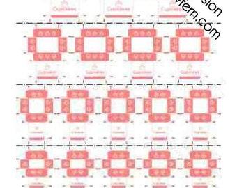 Printable PDF File - Dollhouse Miniature Cupcake Boxes - Salmon Pink