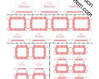 Printable PDF File - Dollhouse Miniature Donut Boxes - Salmon Pink