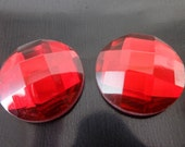 2 PCS Garnet Red Mirror Glass 18 mm Round Faceted No Holes Cabochon - F-23