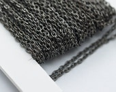 15 Meters - 49.5 Feet (2x3.5 mm.) Gunmetal Tone Metal Cable Open Link Chain ZN-27