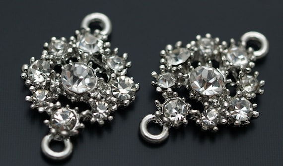 4 PCS Silver Tone Crystal Flower Rhinestone Connector-Findings-Pendant T-09K