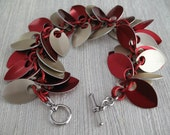 Chainmaille Bracelet - Valentine's Day Red and Pale Gold Dancing Leaves