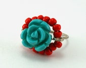 Carved Turquoise Rose Ring