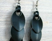 Dragon Tail Black Chainmaille Earrings