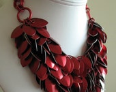 Dancing Leaves Chainmaille Bib Necklace - Red