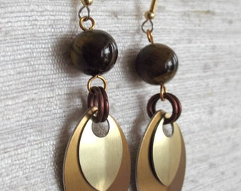 Tiger's Eye and Stacked Leaf Gold and Bronze Chainmaille Earrings