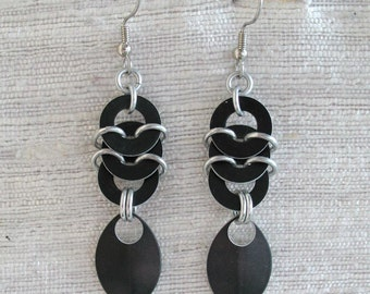 Black Chainmaille Stacked Coin and Leaf Earrings