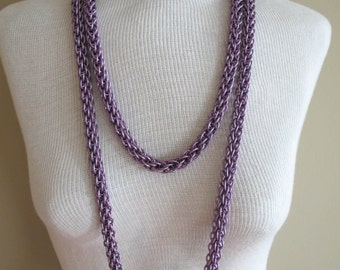 Lavender Triple Strand Woven Chainmaille Necklace