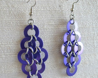 Purple Diamond Coin Chainmaille Earrings