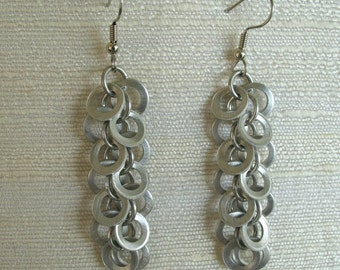 Silver Mini Coin Chainmail Earrings
