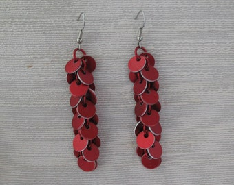 Long Confetti Red Chainmail Earrings