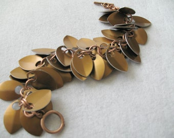 Chainmaille Bronze Dancing Leaves Bracelet