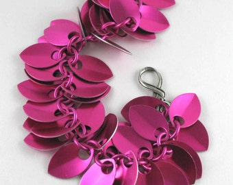 Breast Cancer Awareness Pink Chainmaille Dancing Leaves Bracelet