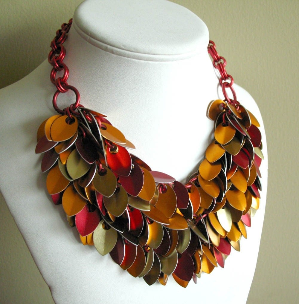 Phoenix Empress Chainmaille Dancing Leaves Fire Bib Necklace