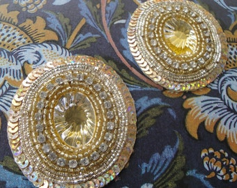 2 x Gold rhinestone and oval gem applique- a pair