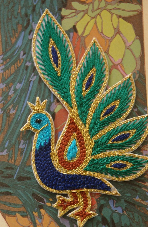 Pretty Peacock Silk Hand Embroidered Applique