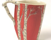Special order for Michele - Leaf Shaped Birch Trees Mug - Red
