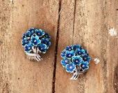 My Bonnie Blue...Vintage Germany Sterling Silver Blue Bouquet Flower Earrings
