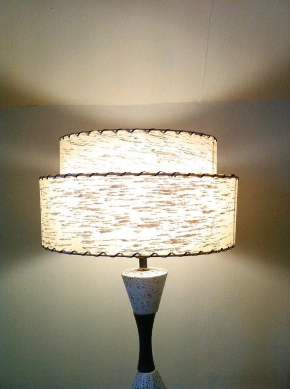 1950s Fiberglass Lamp Shade Vintage 2 Tier Lampshade
