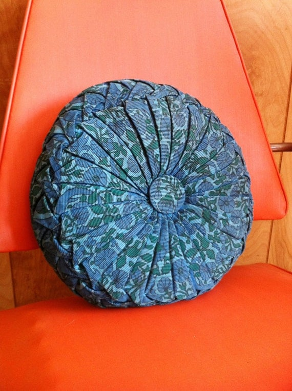 Vintage 1960s or 1970s Round Pillow Blue Floral
