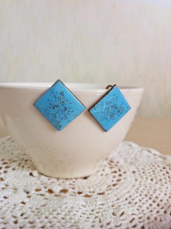 Vintage Blue Metal Earrings Speckled  Screw On  Style