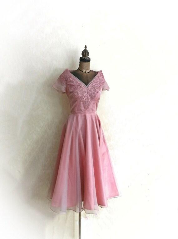1950s Mauve Pink Dress