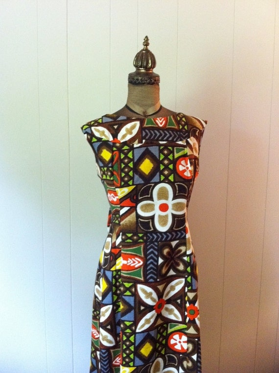 Late 1960s or 1970s Pomare Tahito Maxi Dress