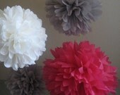 Love Story - 5 Tissue Poms DIY Kit - Valentine's Day - Pinkalicious Party Decoration - Hot Pink and Gray Papered Pom poms