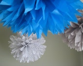 At the Stars - 10 Tissue Paper Pom Pom Decoration - Dots and Turquoise - Party DIY Decor Kit