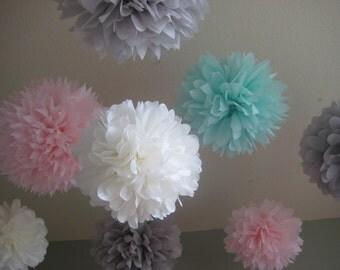 10 Tissue Paper Pom Poms Decoration Holiday Party NYE DIY Kit cyber monday etsy