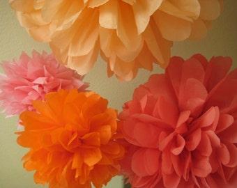 14 mixed sizes Tissue Papered Pom Pom - DIY Decoration Party Birthday Kit - Portland Original