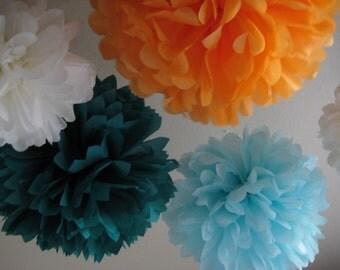 SALE Tissue Pom Decor Kit - DIY 10 Papered Poms - Pick Your Colors - Portland Original