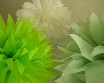 Margarita - 10 Tissue Paper Pom Poms Decoration Party - DIY Kit Gender Neutral Baby Shower Fiesta - Cinco De Mayo - Cactus Agave Green