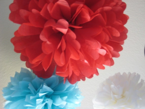 Circus Fever - 10 Tissue Paper Pom Poms Decoration Party DIY Kit - Red Aqua Blue and White - 4th of July - Fireworks - Circus Tent