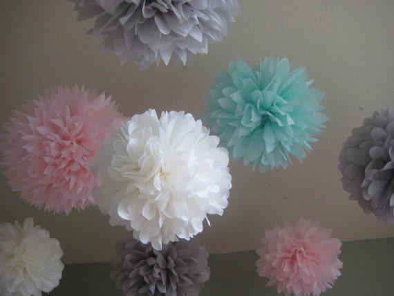 10 Tissue Paper Pom Poms - mixed sizes - Decoration Holiday Party DIY Kit - Custom Chose Your Colors