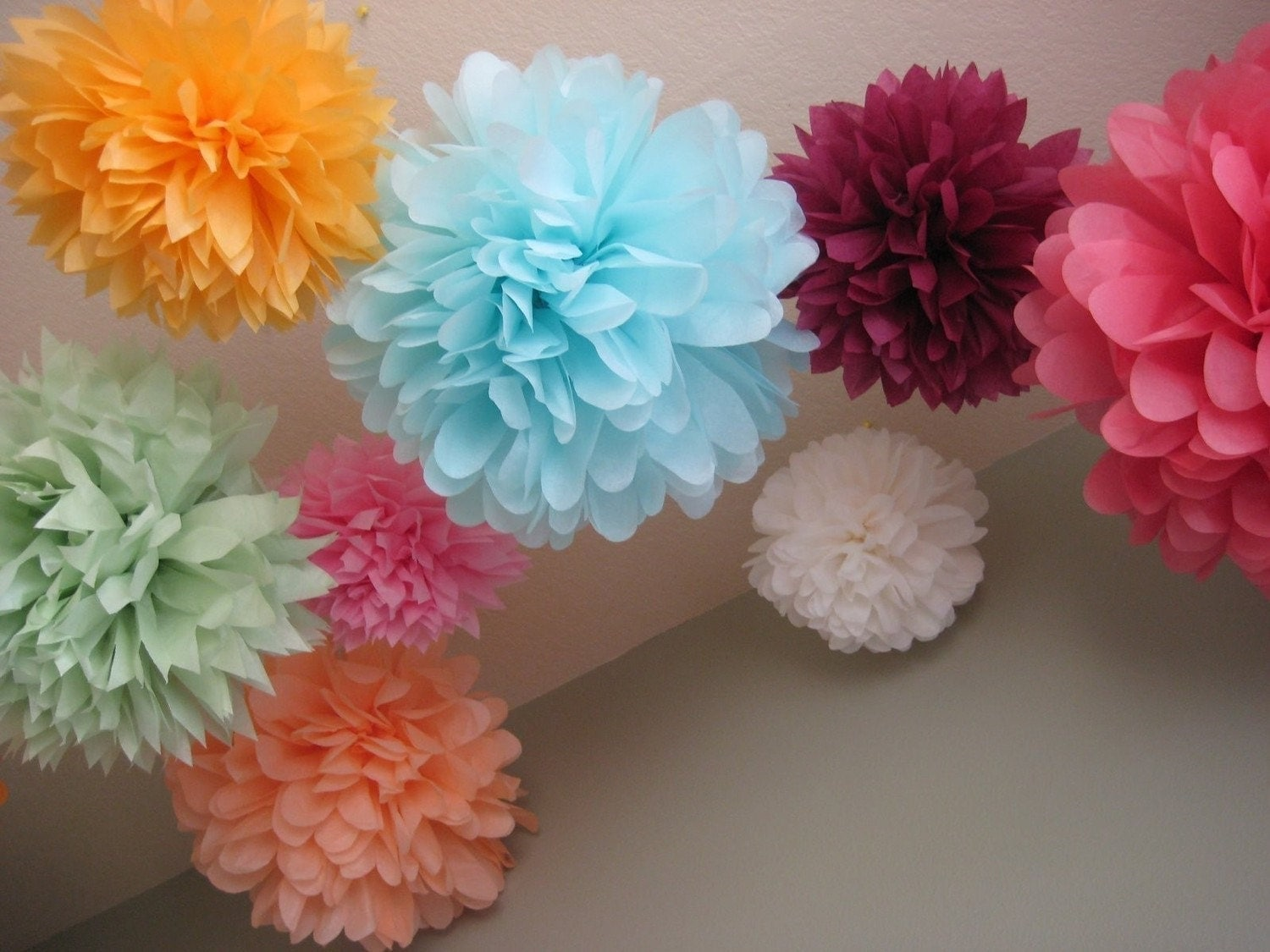 20 tissue paper pom poms wedding decoration by prosttothehost