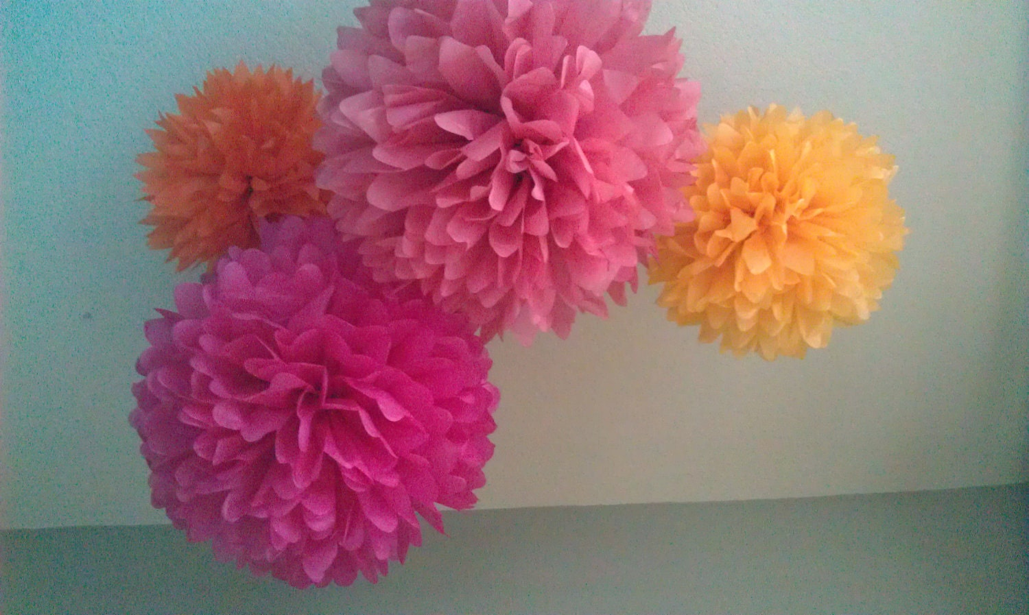 4 tissue pom flowers diy decor kit pick your by prosttothehost for Hanging pom poms from ceiling