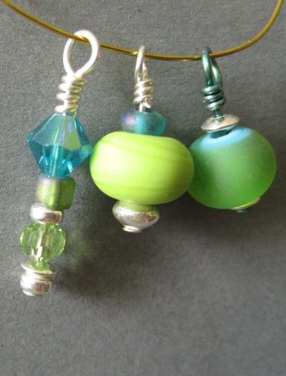 Glass Charm Set Green lampwork Glass and Crystal (A)