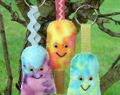 DIY Felt  Sherbet Popsicle Keychain Kit in Yellow ----Easy to make craft kit