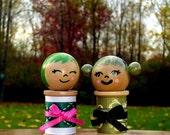 Kokeshi Wooden Spool dolls (You Pick one) Green hair