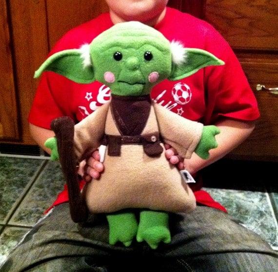 Reserved - Master Yoda inspired Kimono Kids doll - fleece - Star Wars fan art - plush - toy - removable walking stick