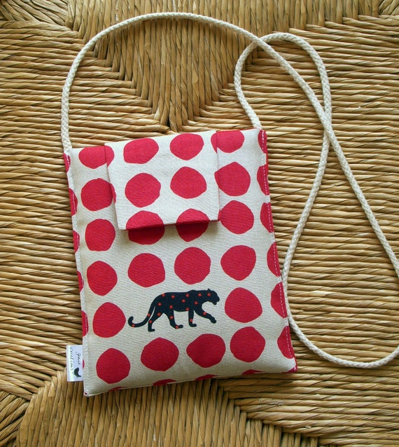SALE Small Neck or Shoulder Purse in a Japanese Fabric Design of Leopards